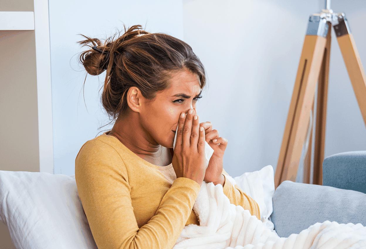 Woman with sinusitis.